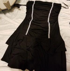 Swing style polka dot tube top dress